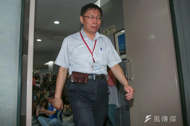 台北市長柯文哲8日表示,台北市的防洪,以每小時降雨78mm為應付範圍,超過此標準就沒有辦法應付。(資料照片,余志偉攝)