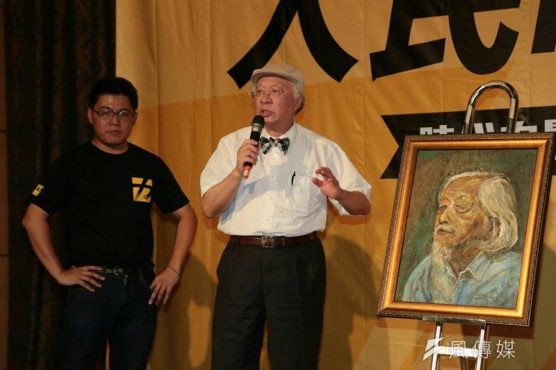 時代力量募款餐會,拍賣史明肖像畫(余志偉攝)