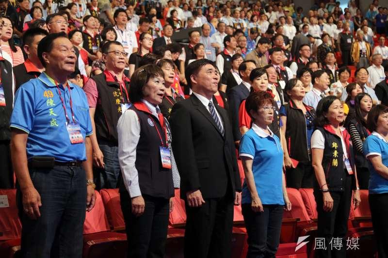 國民黨全代會閉幕,全體黨代表起立宣讀青年守則。(資料照,吳逸驊攝)