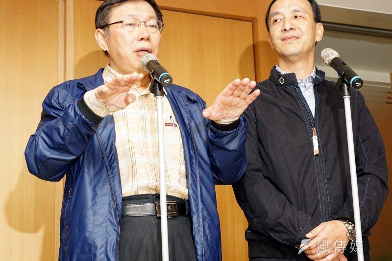 中國在今年初同時向台北市長柯文哲和國民黨主席朱立倫提出要求,要他們公開表示接受「兩岸一家親」或是「兩岸命運共同體」的說法,兩人的選擇不同,也造就了不同的結果。(資料照,蘇仲泓攝)