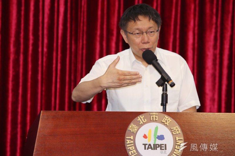 台北市長柯文哲上午主持會議。(林韶安攝)