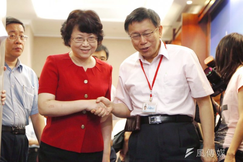 柯文哲30日會見上海市副市長翁鐵慧(蔡耀徵攝)