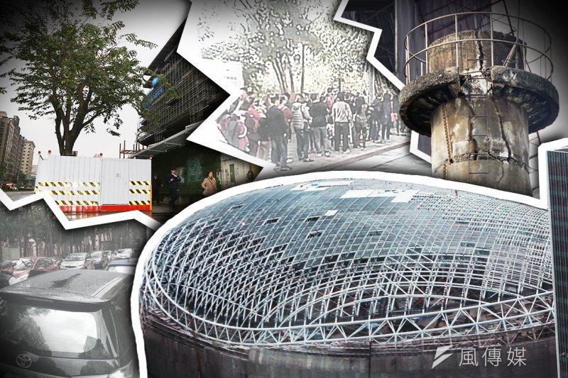 興建大巨蛋曾是「眾望所歸」的決定,但市民為此也付出了不少代價。(蘇仲泓、楊子磊、余志偉攝、新仁里里長吳建德提供/影像合成:風傳媒)