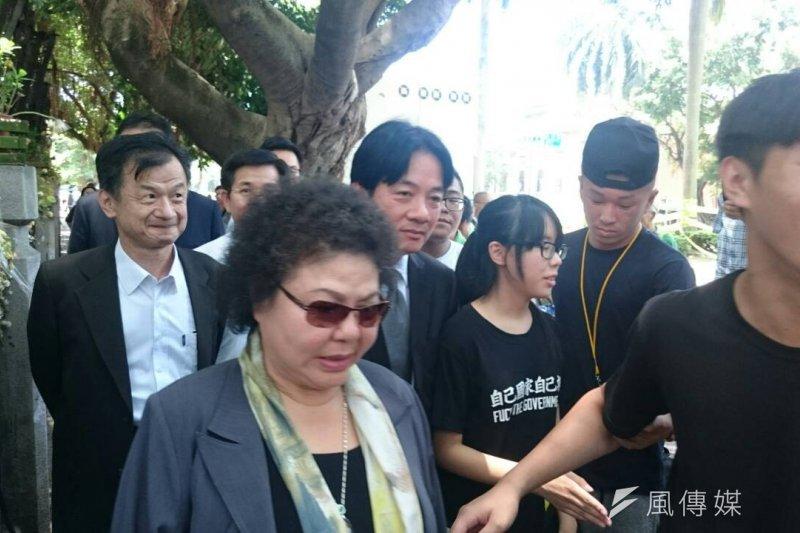 高雄市長陳菊、台南市長賴清德到教育部探視反課綱學生(林彥呈攝)