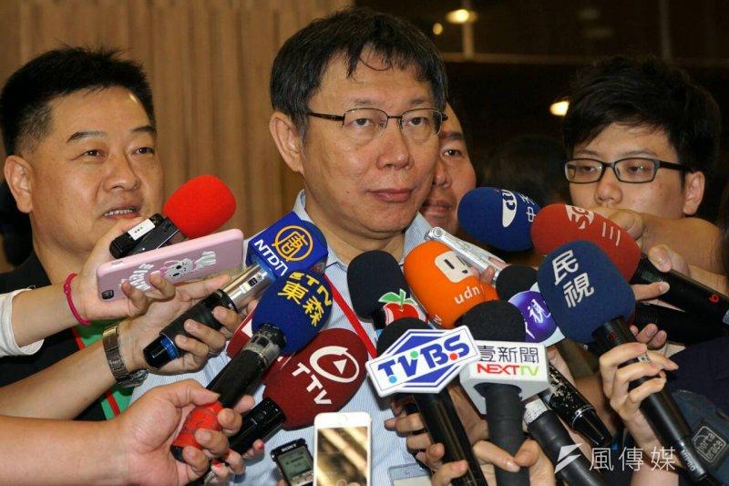 去年雙城論壇北市長柯文哲前往上海參訪,今年上海市長楊雄卻不訪台。圖為2015年雙城論壇結束,柯文哲自上海返台。(資料照,蘇仲泓攝)