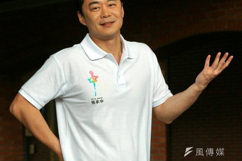 藝人Selina的老公張承中宣布以無黨籍身分參選台北市松山信義區立委。(蘇仲泓攝)