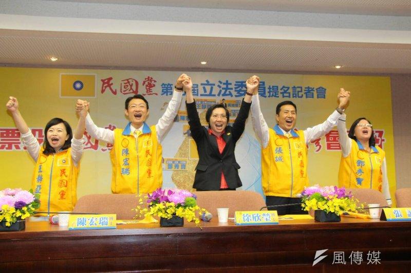 繼上周推出首波立委提名名單後,民國黨18日再次召開記者會,公布第2波、4名立委提名人。中間為黨主席徐欣瑩。(葉信菉攝)