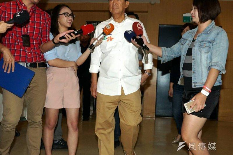 市民黨總統參選人宋楚瑜3日上午參加氣候變遷研討會。(蘇仲泓攝)