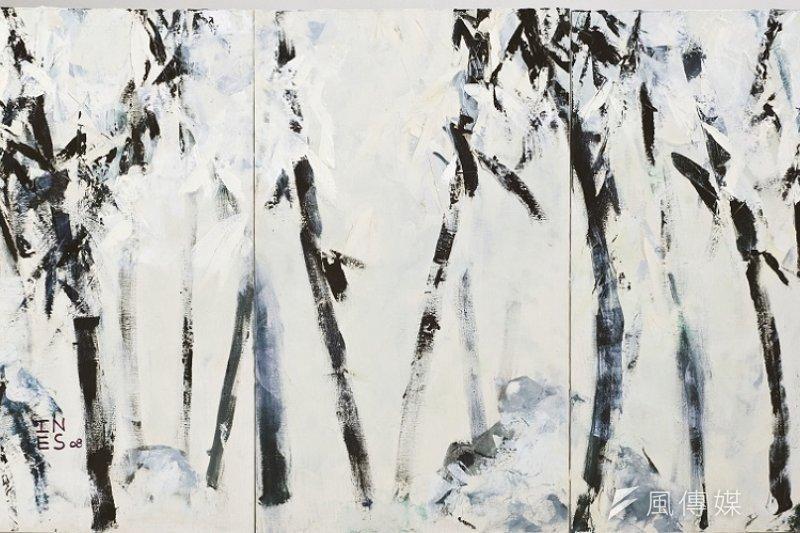作者畫作〈雪竹 〉( 油彩麻布 180x100 cm 2008 作於北京 。作者提供)