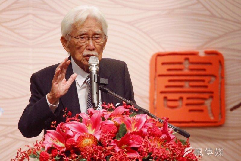 前總統府資政、獨派大老辜寬敏今(15)日歡度90歲生日,希望中國與台灣成為「兄弟之邦」的關係,不過中國必須改變檢討對台政策。(蔡耀徵攝)
