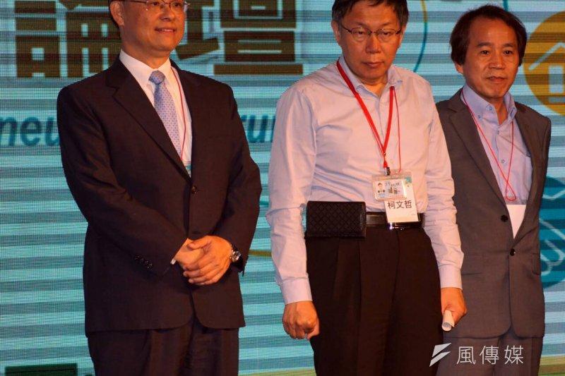 柯文哲上午出席2015年創新創業論壇。(蘇仲泓攝)