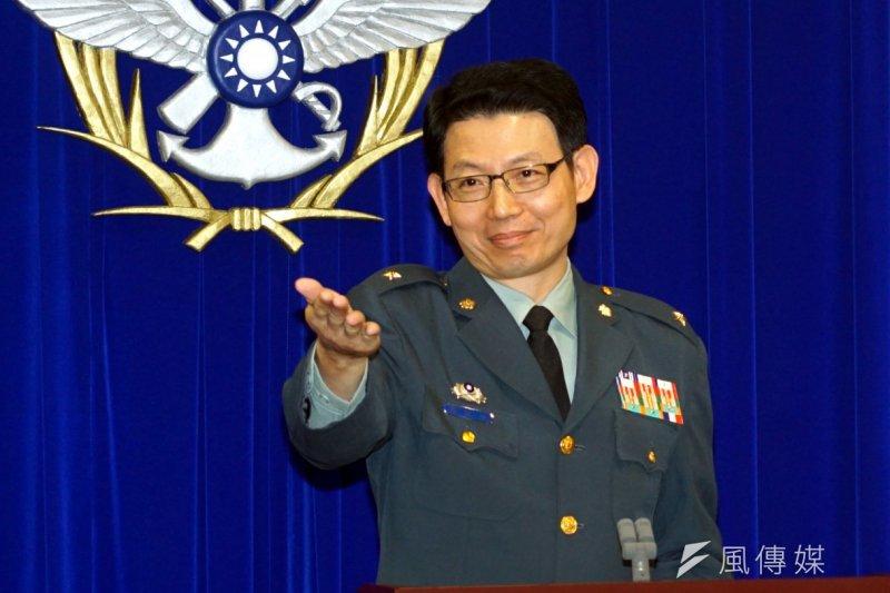 國防部3日上午舉行例行記者會,圗為發言人羅紹和。(蘇仲泓攝)