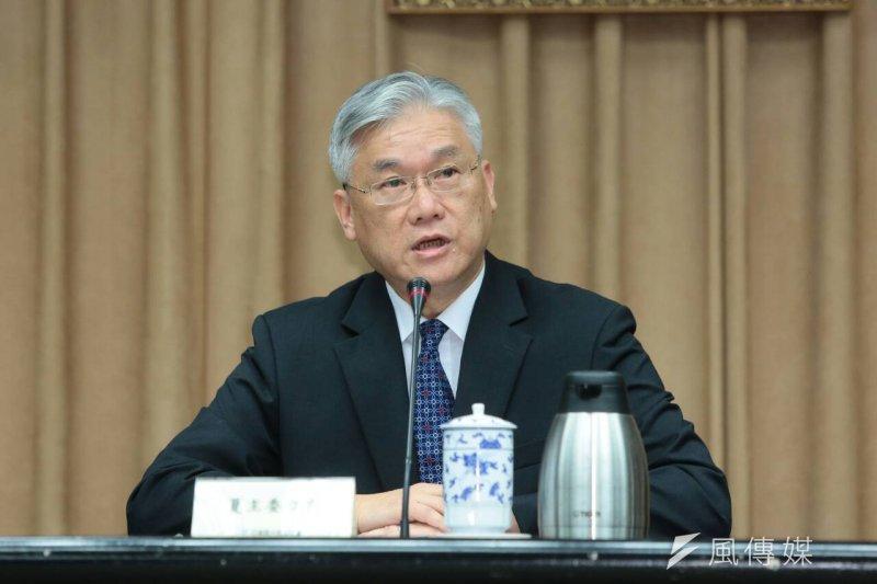 陸委會主委夏立言舉行記者會,說明馬習會。(顏麟宇攝)