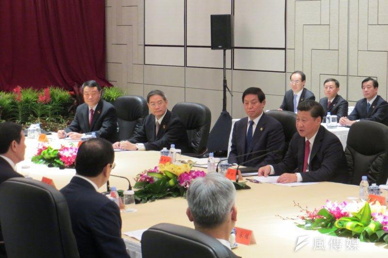 馬習會登場,馬英九、習近平雙方總共7名官員參與會面。(仇佩芬攝)