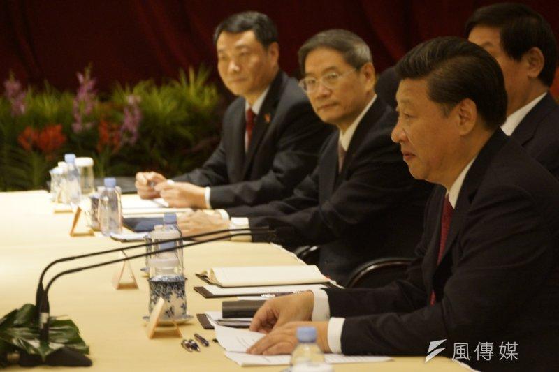 馬習會,中國國家領導人習近平帶領的團隊對談與台灣總統馬英九帶的團隊對談。(仇佩芬攝)