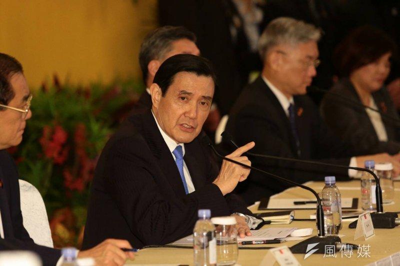 總統馬英九在馬習會後記者會。(顏麟宇攝)