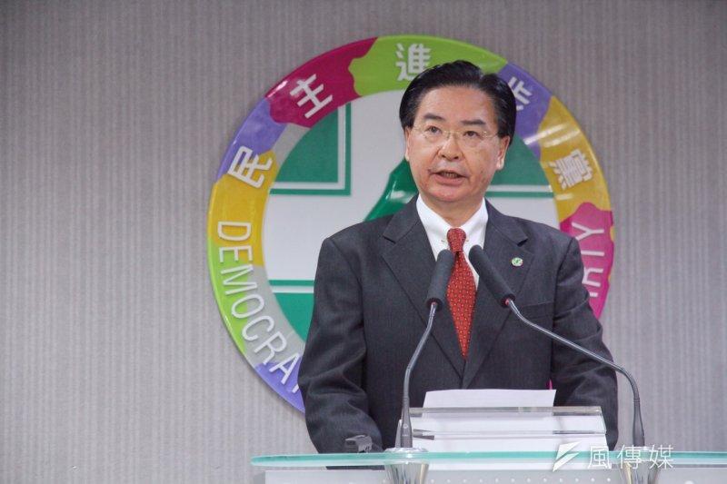 民進黨秘書長吳釗燮表示,這份名單彰顯重要社會議題,強化國會問政專業,擴大對社會連結,未來要扮演民進黨對公民社會的連結。(曾原信攝)