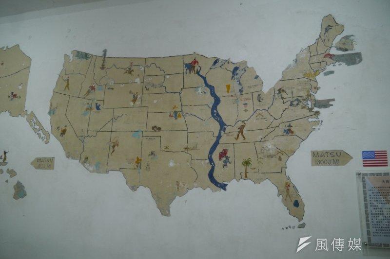 53年前美軍顧問團因思鄉所繪製的美國地圖(朱明攝)
