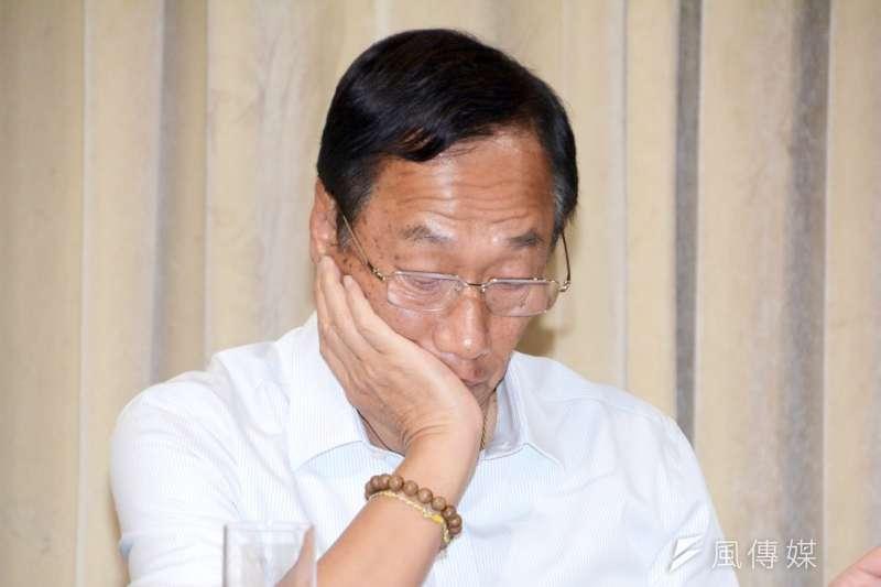 今年鴻海尾牙,郭台銘為公司首次出現營收衰退而道歉。(資料照片,陳明仁攝)