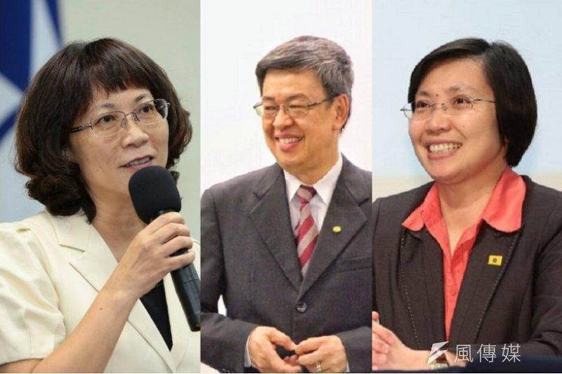 三黨副總統參選人從左到右為王如玄、陳建仁、徐欣瑩。(顏麟宇、曾原信攝/影像合成:風傳媒)