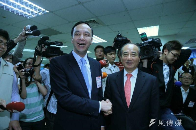 中國國民黨第19屆中央委員會第3次全體會議決定不分區立委名單,朱立倫與王金平(陳明仁攝)