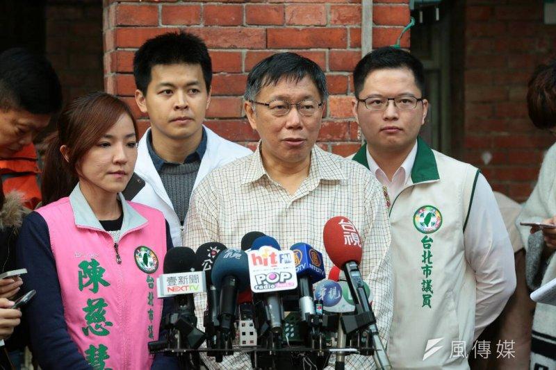 台北市長柯文哲到社子島Homestay。(顏麟宇攝)