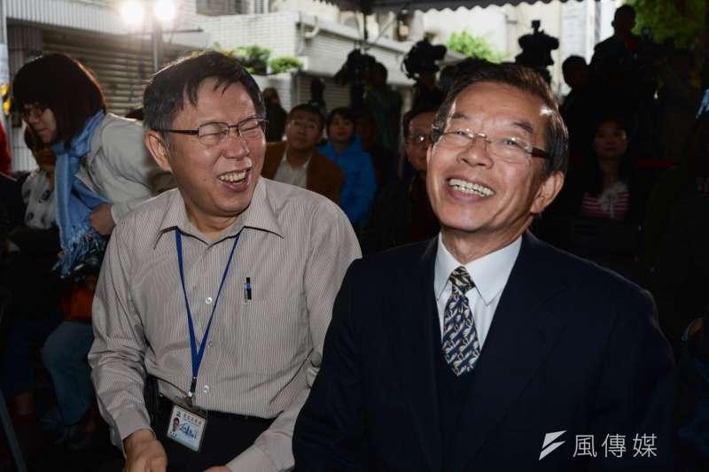 柯文哲與謝長廷出席自由巷國際人權特展活動。(林俊耀攝)