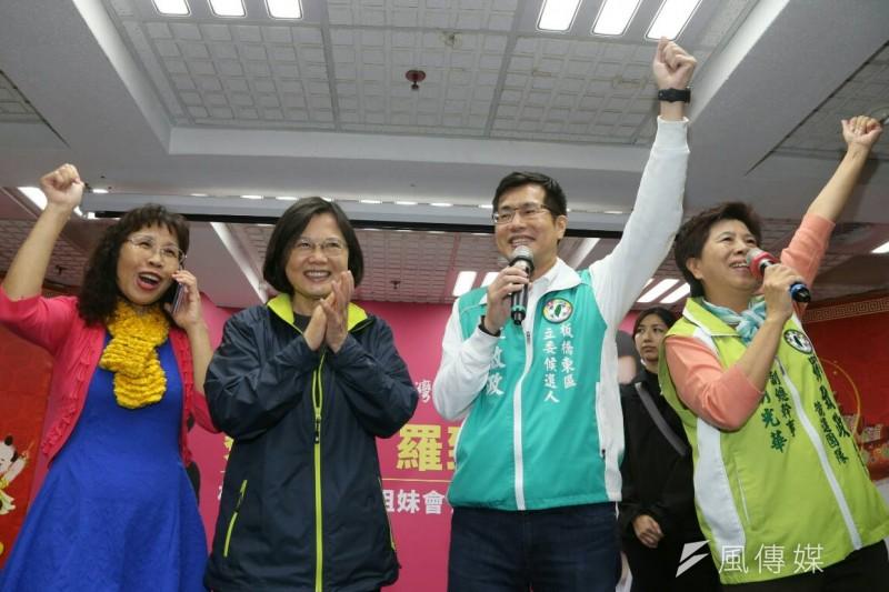 民進黨總統候選人蔡英文為新北立委候選人羅致政助選,並出席姐妹會活動。(陳明仁攝)