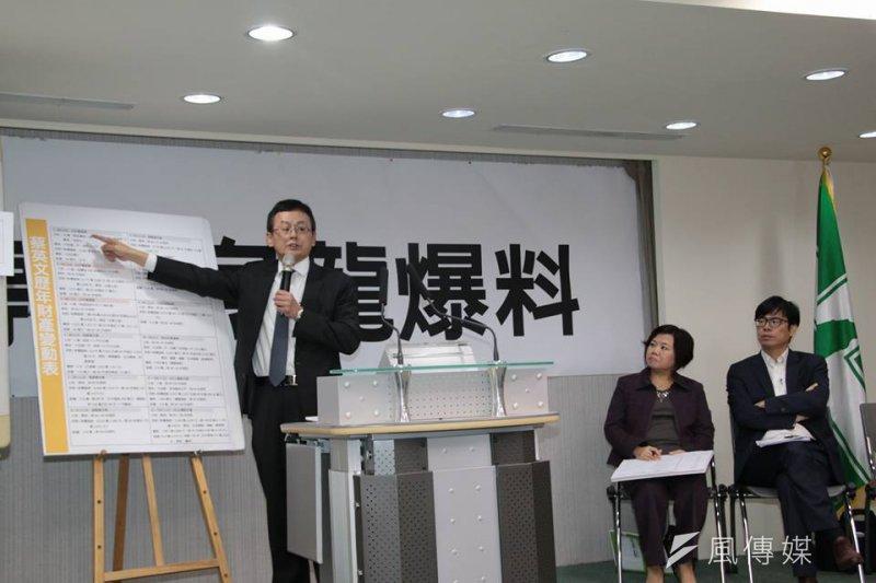 民進黨15日舉行記者會,公布民進黨總統候選人蔡英文的房地產資料。(顏振凱攝)