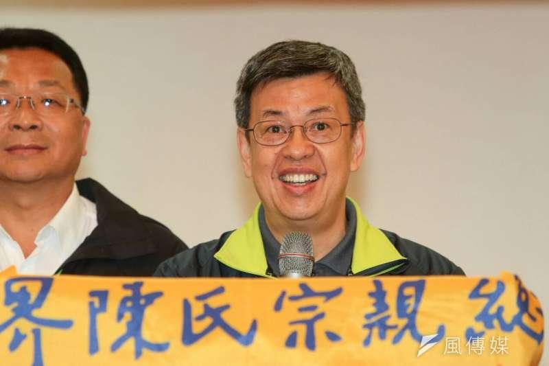 民進黨副總統候選人陳建仁出席陳氏宗親會活動。(顏麟宇攝)