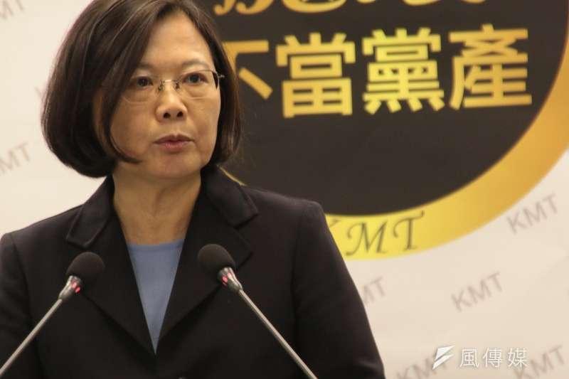民進黨黨主席蔡英文表示,「信託」仍不足以消除黨產之惡。(顏振凱攝)