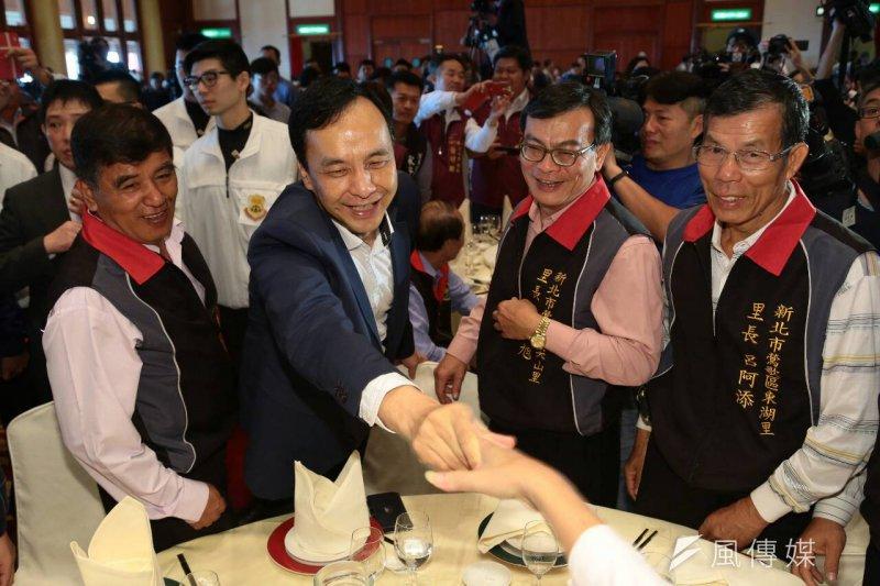 國民黨總統候選人朱立倫出席全國村里長與總統候選人有約活動。(顏麟宇攝)
