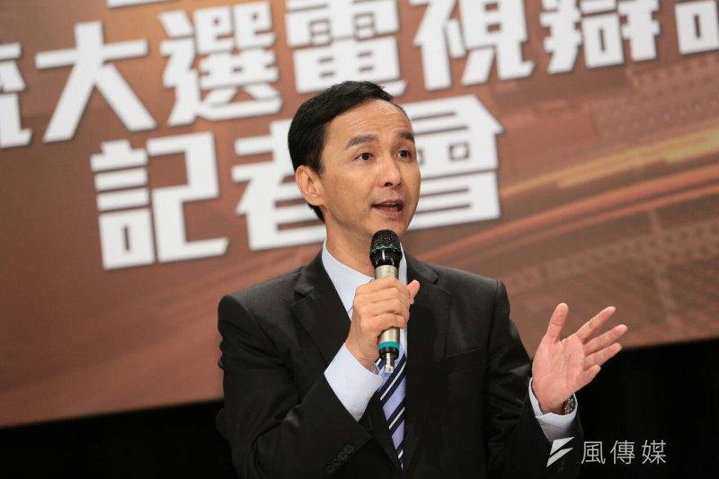 總統候選人第一場電視辯論會27日結束之後,朱立倫舉行記者會。(顏麟宇攝)