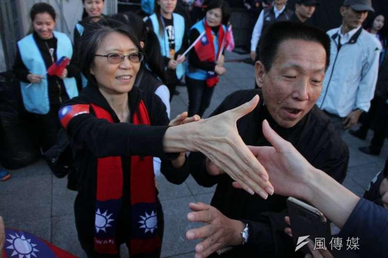 選前黃金週末,國民黨9日下午在台北舉辦「為台灣安定而走 你,就是力量」大遊行,遊行隊伍分成愛、希望、團結等三條路線,最終在自由廣場會合造勢。周美青。(葉信菉攝)