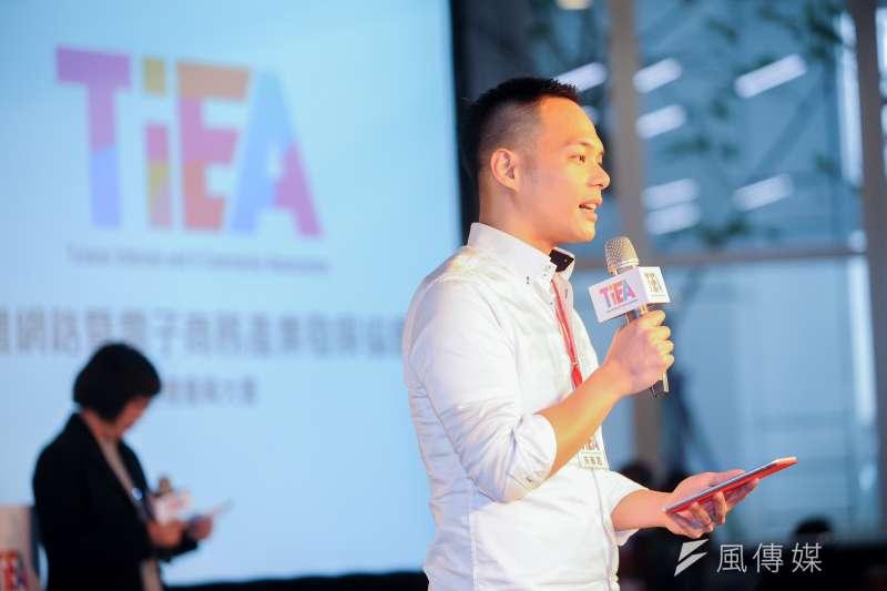 台灣網路暨電子商務產業發展協會8日舉辦會員大會,圖為第二屆新任理事長林之晨。(林俊耀攝)