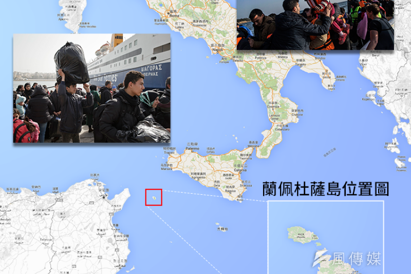 義大利最南端的蘭佩杜薩島是地中海難民的第一個上岸處。(風傳媒製圖)