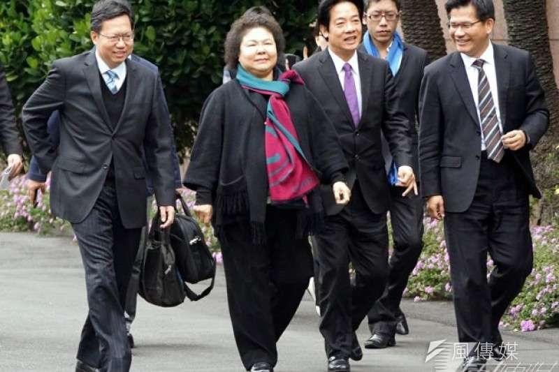 高雄市長陳菊、台南市長賴清德及桃園市長鄭文燦等人都是新系人馬,稱新潮流為「黨中之黨」也不為過。(資料照,蘇仲泓攝)