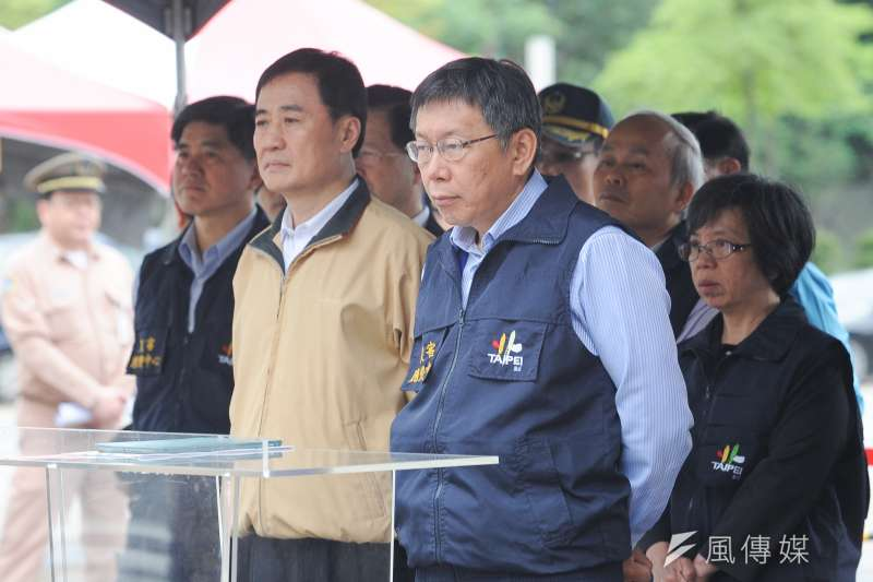 2018新北市長選戰,台北市副市長陳景峻已決定爭取民進黨黨內徵召,而市長柯文哲也有意聯合競選、借將操盤。圖為柯文哲與陳景峻(左)。(資料照,林俊耀攝)