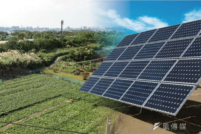 過度推廣農田種電,恐怕會遇到業者「假種田、真種電」,如何在農耕與綠電中取得平衝,是農委會的難題。(資料照,顏麟宇攝/影像合成:風傳媒)