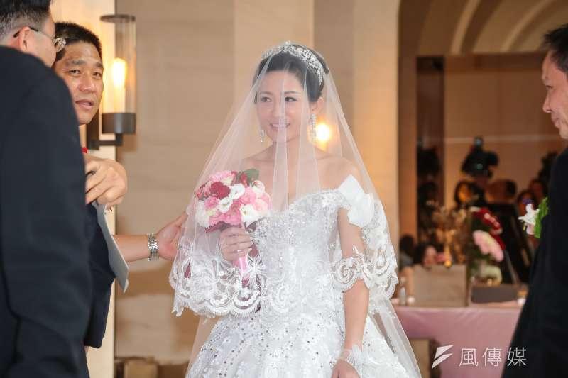 國民黨政策會執行長蔡正元與洪菱霙21日於萬豪酒店舉辦婚禮。(顏麟宇攝)