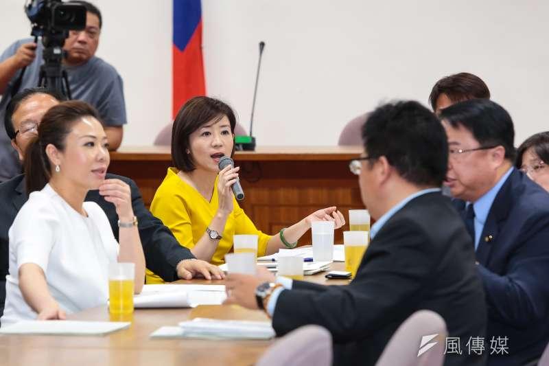 國民黨立委王育敏24日出席由時代力量召集協商「廢除紅十字會法」,藍綠立委因此言語衝突。(顏麟宇攝)