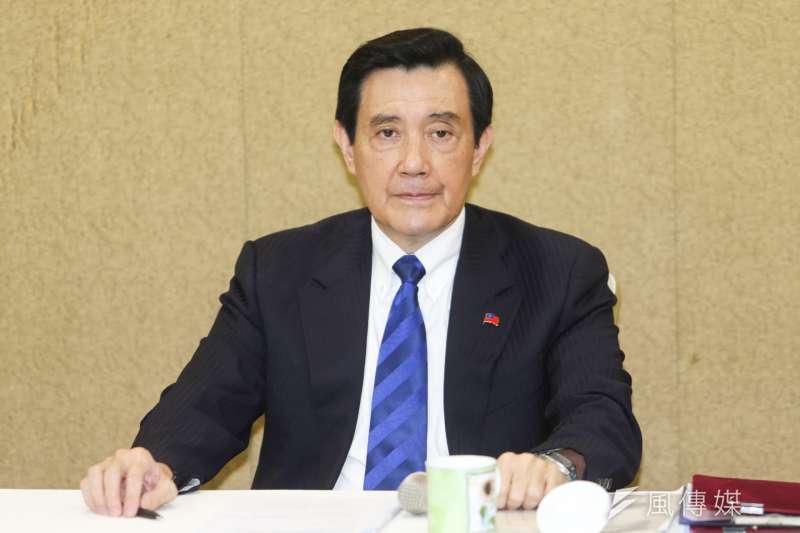 前總統馬英九記者會,說明視訊香港演講內容。(陳明仁攝)