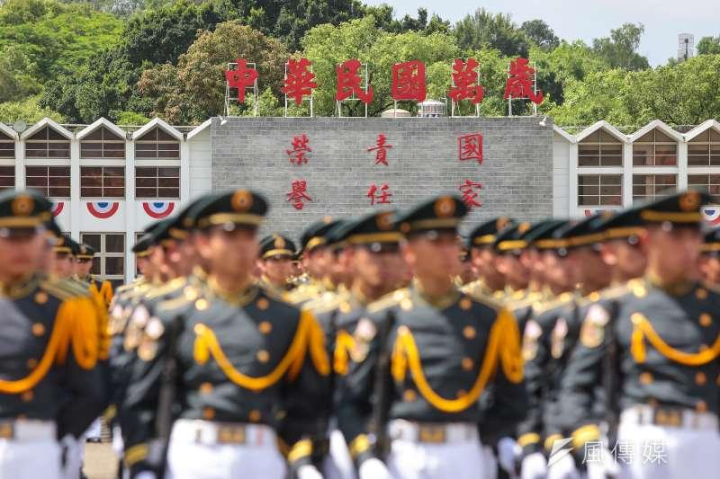 陸軍官校內「中華民國萬歲」的標語。(顏麟宇攝)