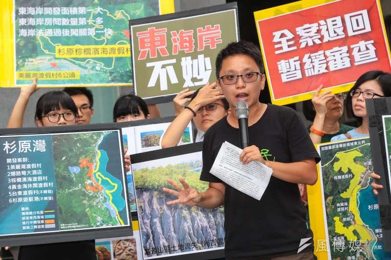 地球公民基金會研究員黃靖庭29日於環保署前召開「捍衛東海岸,棕櫚濱海別偷跑」記者會。(顏麟宇攝)