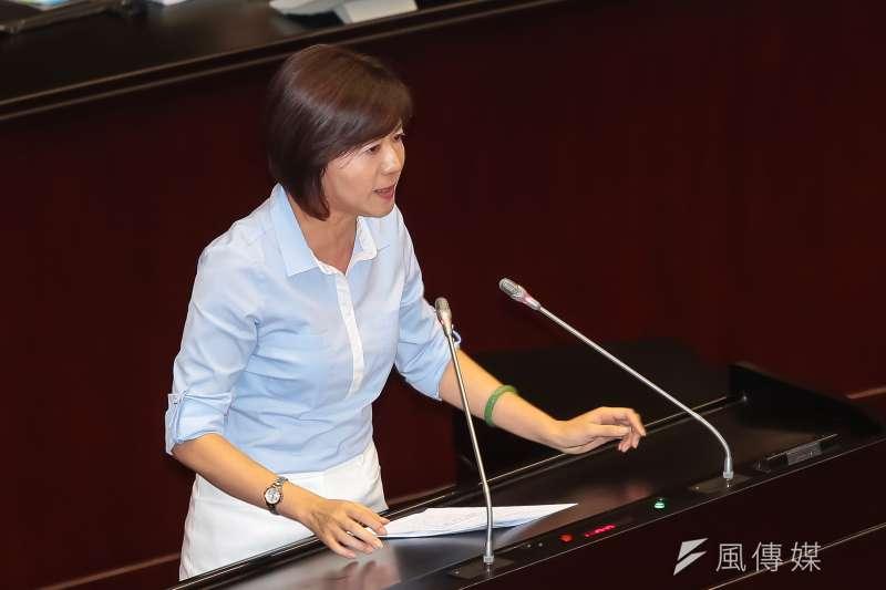 國民黨立委王育敏12日針對廢止「中華民國紅十字會法」發言反對。(顏麟宇攝)