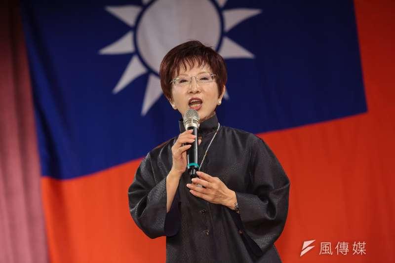 國民黨主席洪秀柱21日出席新黨23週年黨慶大會。(顏麟宇攝)