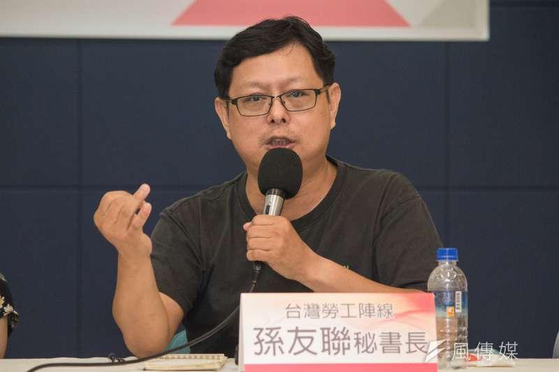台灣勞工陣線秘書長孫友聯表示,《勞基法》修法後勞動部被嚴重架空,新部長換誰都一樣。(資料照,李振均攝)