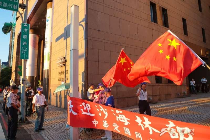 在台灣,總能在中華愛國同心會等團體籌辦的示威場合及活動見到醒目的五星旗。(資料照,顏麟宇攝)