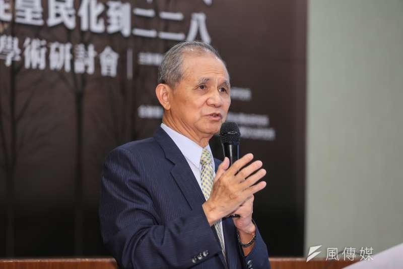 20160910-臺灣研究基金會創辦人黃煌雄10日出席「台灣的悲愴年代─從皇民化到二二八」研討會。(顏麟宇攝)