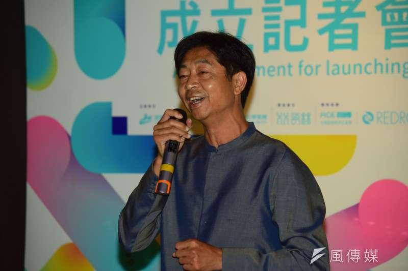 瓷林董事長林光清12日出席「瓷林與朱宗慶打擊樂團成立『JPG擊樂實驗室』」記者會。(陳伯聖攝)